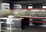 Kitchen cabinets high gloss lacquer and wood